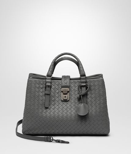 New Light Grey Intrecciato Light Calf Roma Bag