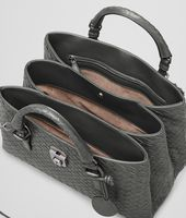 SMALL ROMA BAG IN NEW LIGHT GREY INTRECCIATO CALF