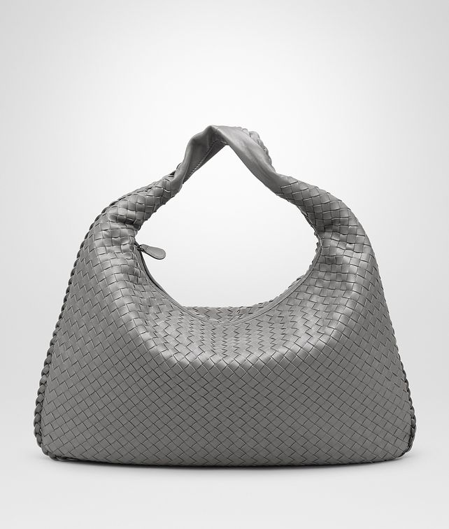 BOTTEGA VENETA NEW LIGHT GREY INTRECCIATO NAPPA Large Veneta Shoulder or hobo bag D fp