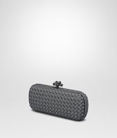 STRETCH KNOT CLUTCH IN MEDIUM GREY INTRECCIO FAILLE MOIRE