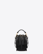 Small EMMANUELLE Fringed BUCKET BAG IN Black LEATHER