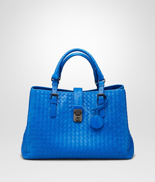 Signal Blue Intrecciato Light Calf Roma Bag