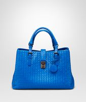 BORSA ROMA SIGNAL BLUE IN LIGHT CALF INTRECCIATO