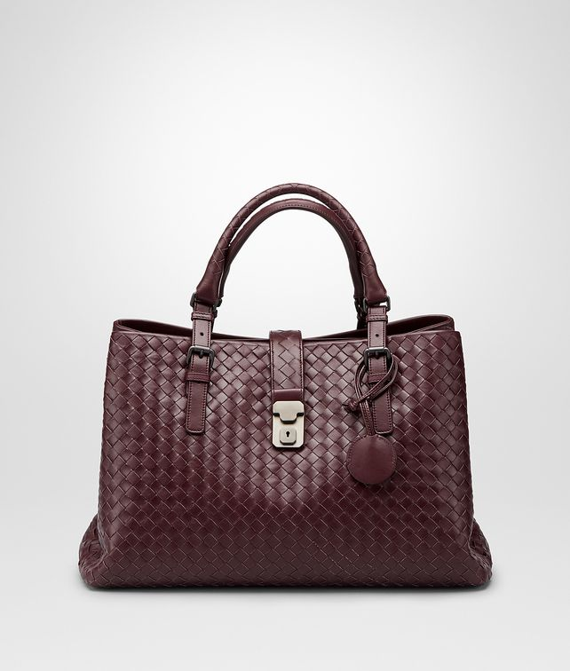 Aubergine Intrecciato Light Calf Roma Bag