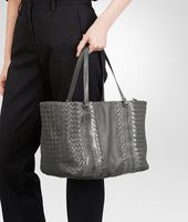 NEW LIGHT GREY INTRECCIATO NAPPA AYERS TOTE BAG