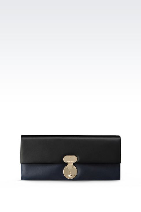 TWO-COLOUR CLUTCH IN LAMBSKIN: Clutch bags Women by Armani - 1