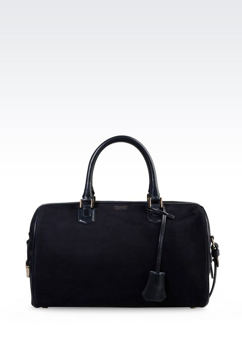 BAULETTO BAG IN NUBUCK AND GLOSSY BOARDED CALFSKIN: Bowling bags Women by Armani - 1