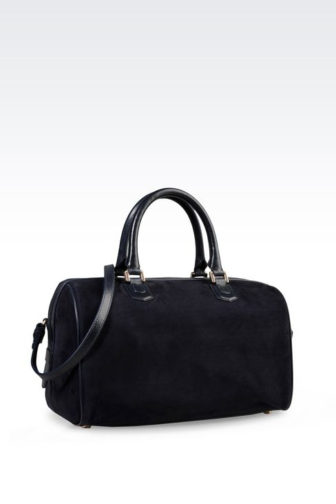 BAULETTO BAG IN NUBUCK AND GLOSSY BOARDED CALFSKIN: Bowling bags Women by Armani - 2