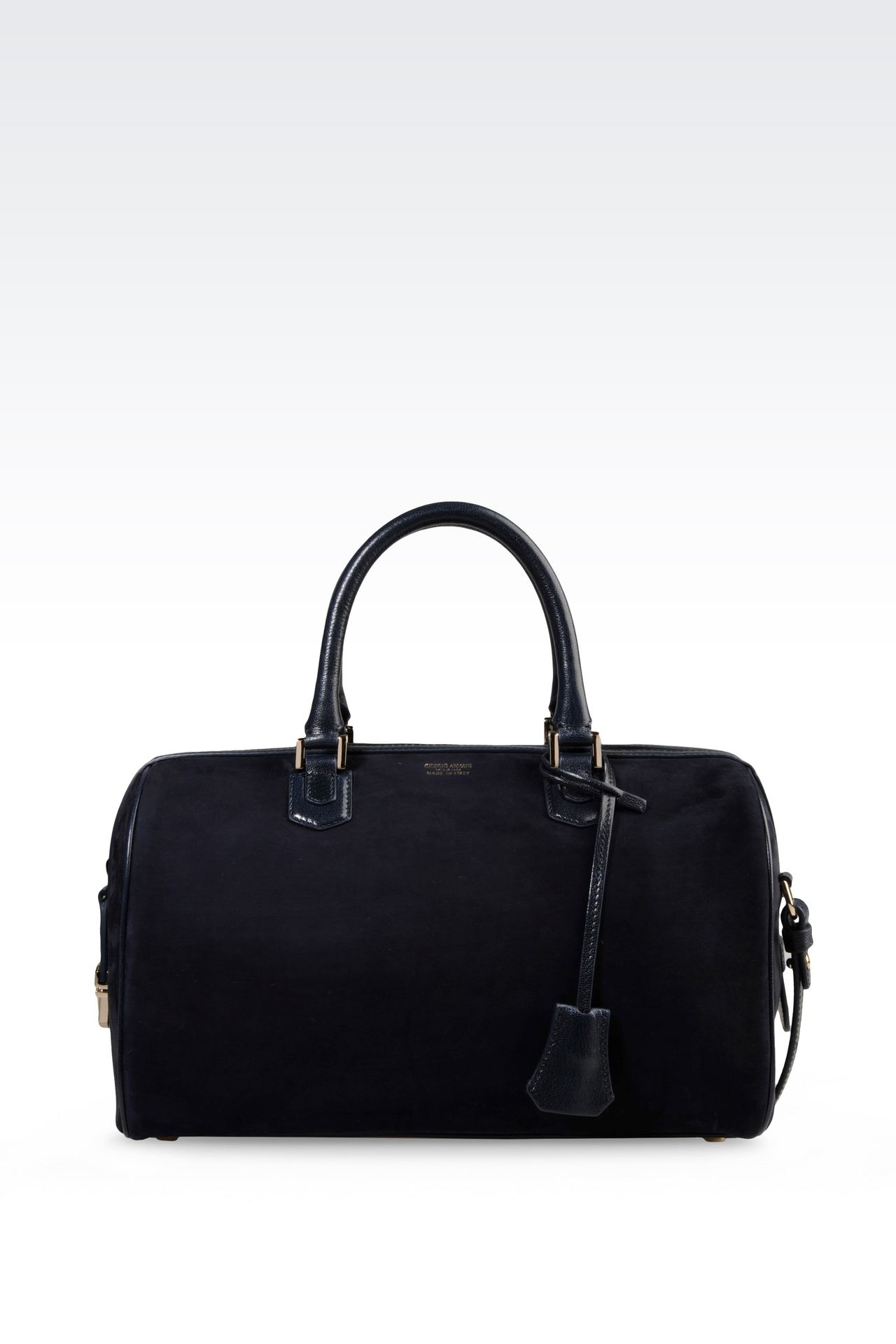 BAULETTO BAG IN NUBUCK AND GLOSSY BOARDED CALFSKIN: Bowling bags Women by Armani - 0