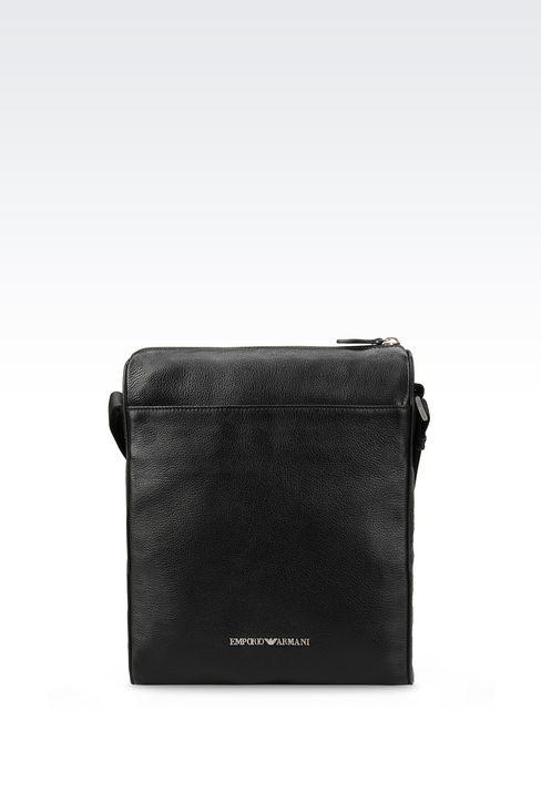 emporio armani men shoulder bag in tumbled calfskin. Black Bedroom Furniture Sets. Home Design Ideas