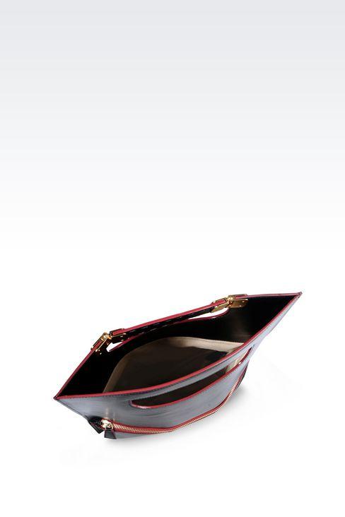 CLUTCH IN SMOOTH CALFSKIN: Pochettes Women by Armani - 3