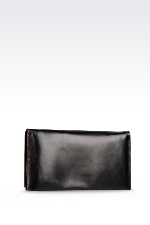 CLUTCH IN SMOOTH CALFSKIN: Pochettes Women by Armani - 2