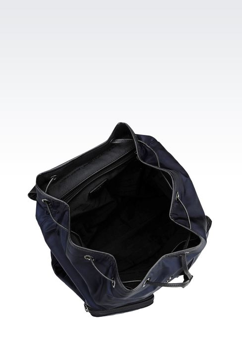 BACKPACK IN TECHNICAL FABRIC AND LEATHER TRIM: Backpacks Men by Armani - 3