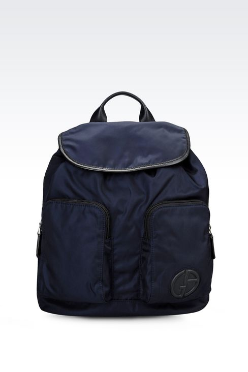 BACKPACK IN TECHNICAL FABRIC AND LEATHER TRIM: Backpacks Men by Armani - 1