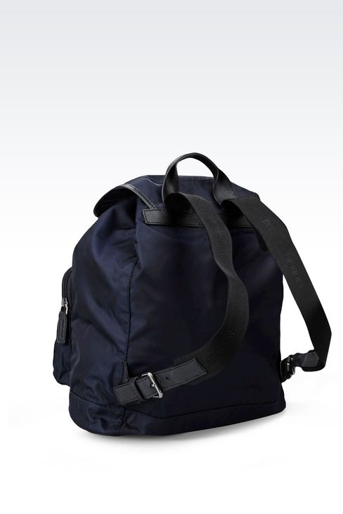 BACKPACK IN TECHNICAL FABRIC AND LEATHER TRIM: Backpacks Men by Armani - 2