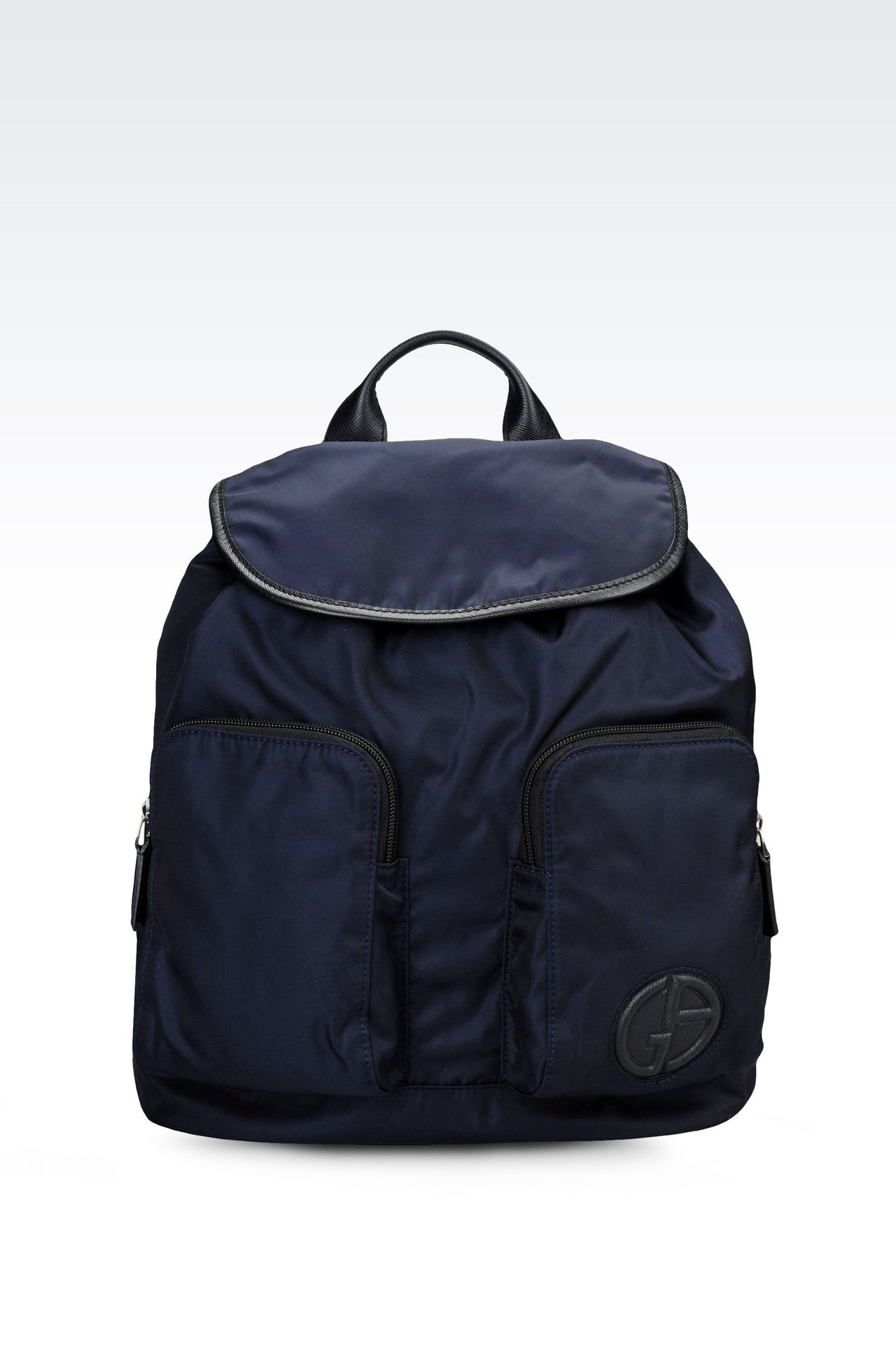 BACKPACK IN TECHNICAL FABRIC AND LEATHER TRIM: Backpacks Men by Armani - 0