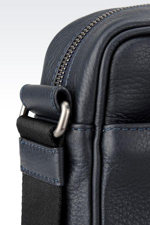SHOULDER BAG IN TUMBLED CALFSKIN: Messenger bags Men by Armani - 4