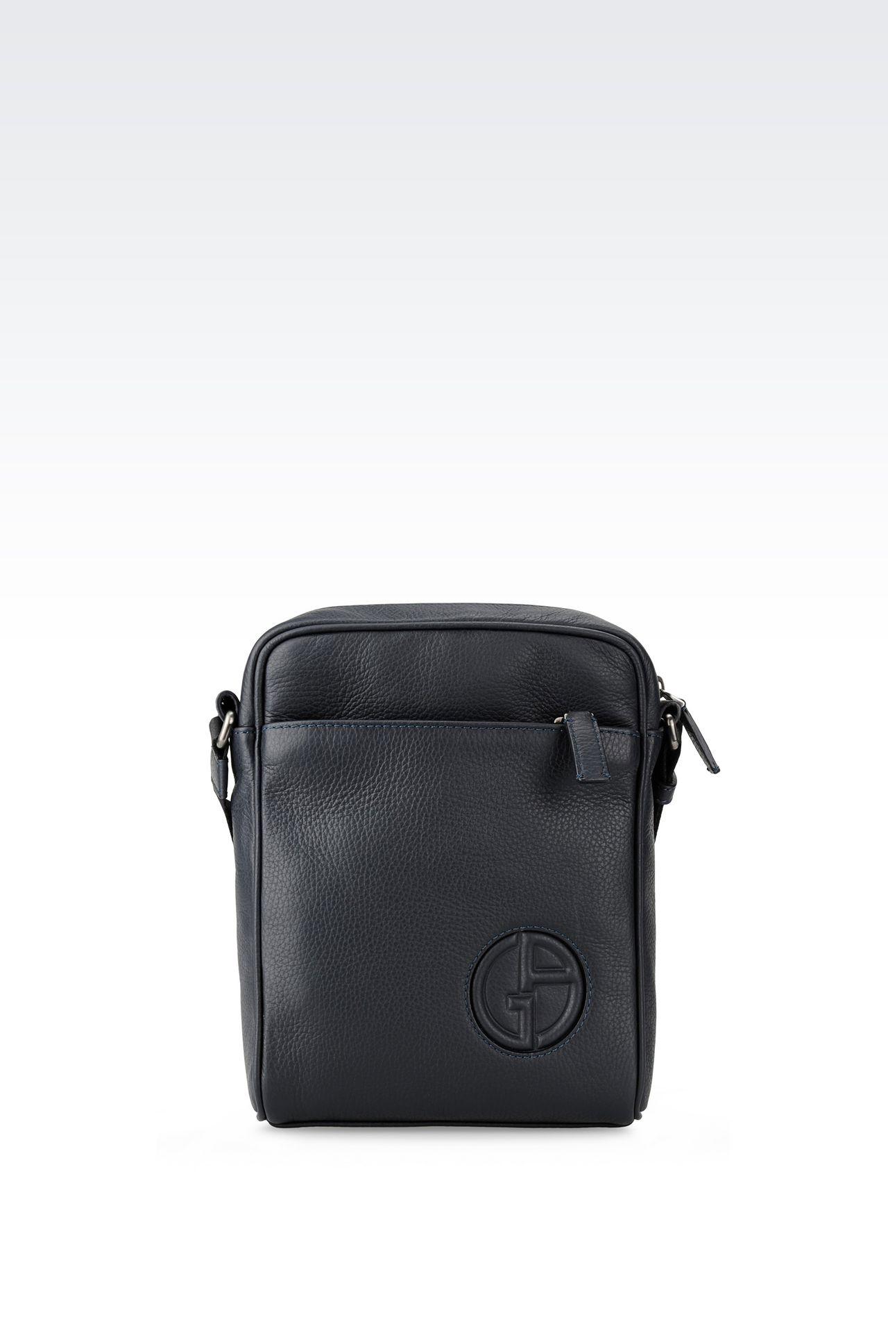 SHOULDER BAG IN TUMBLED CALFSKIN: Messenger bags Men by Armani - 0