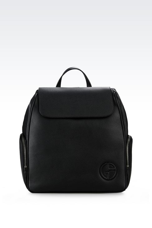 BACKPACK IN TUMBLED CALFSKIN: Backpacks Men by Armani - 1