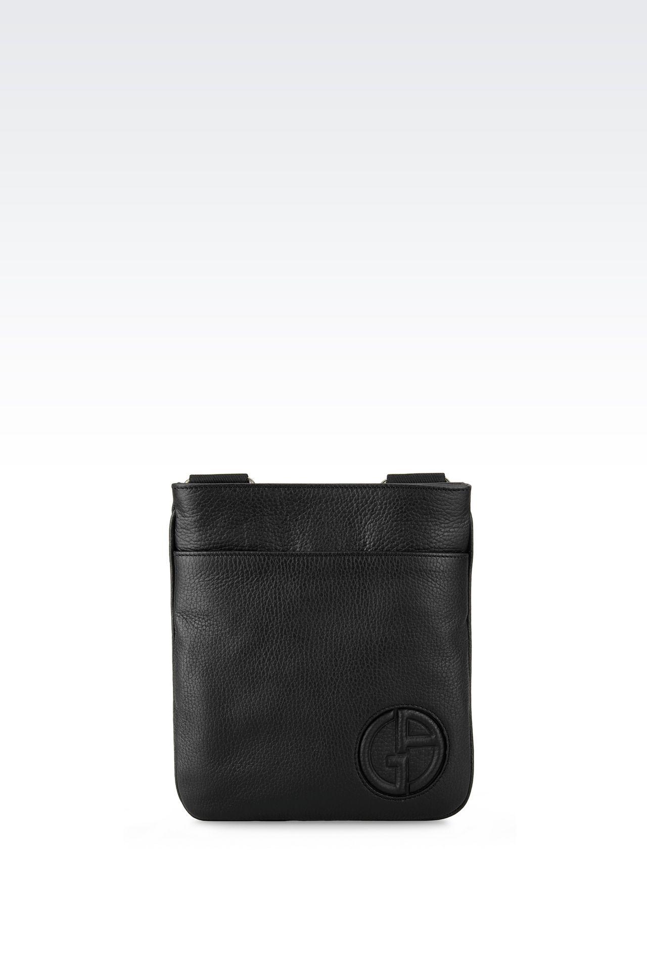 FLAT MESSENGER BAG IN TUMBLED CALFSKIN: Messenger bags Men by Armani - 0