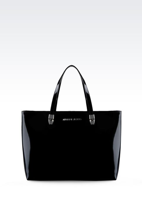 SHOPPING BAG IN LEATHER WITH LOGO: Shoppers Women by Armani - 1