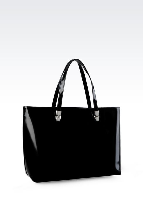 SHOPPING BAG IN LEATHER WITH LOGO: Shoppers Women by Armani - 2