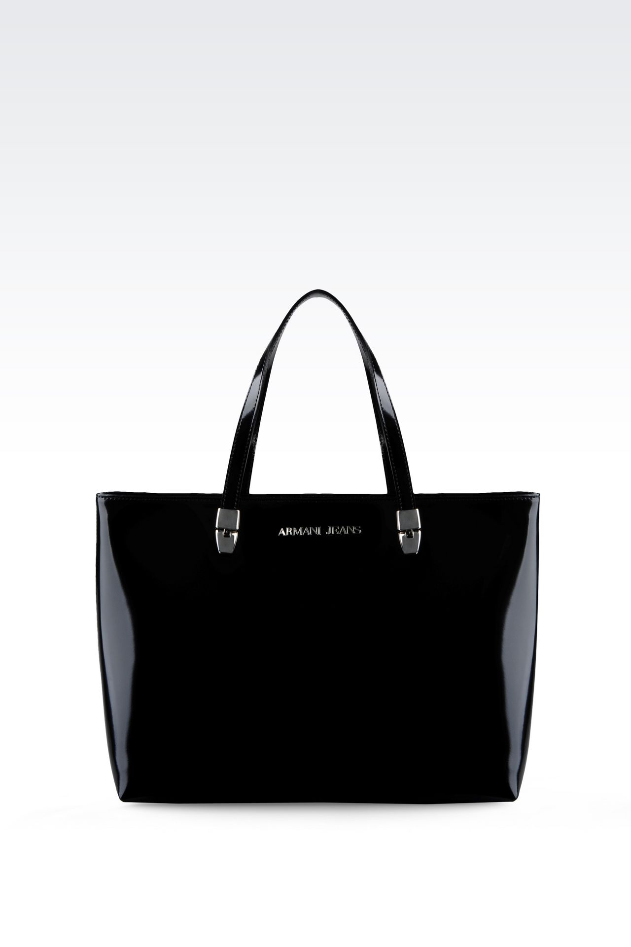 SHOPPING BAG IN LEATHER WITH LOGO: Shoppers Women by Armani - 0
