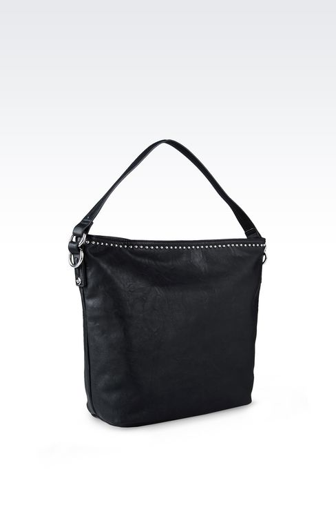 HOBO BAG IN FAUX LEATHER WITH STUDS: Hobo bags Women by Armani - 2