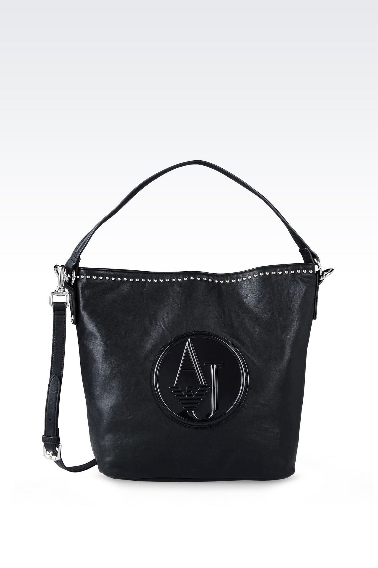 HOBO BAG IN FAUX LEATHER WITH STUDS: Hobo bags Women by Armani - 0