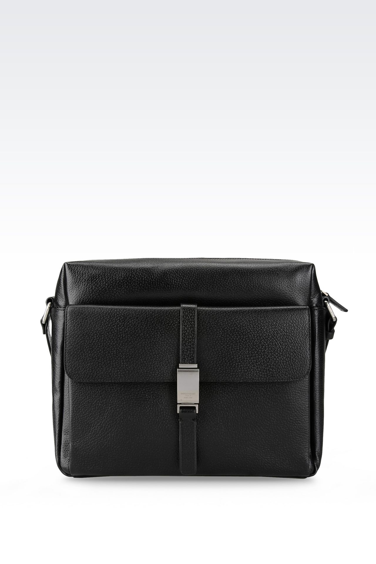 SHOULDER BAG IN WILD BOAR: Messenger bags Men by Armani - 0
