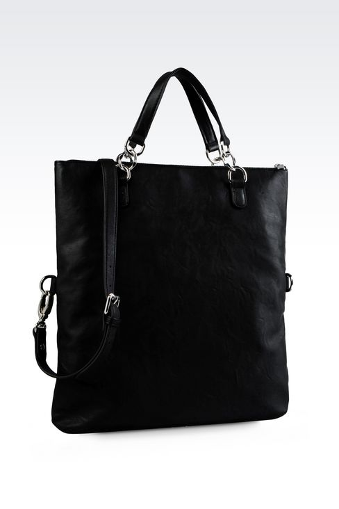 TOTE BAG IN MATT FAUX LEATHER: Shoppers Women by Armani - 2