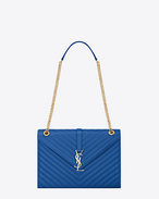 Classic Large Monogram Saint Laurent Satchel in Royal Blue Grain de Poudre Textured Matelassé Leather