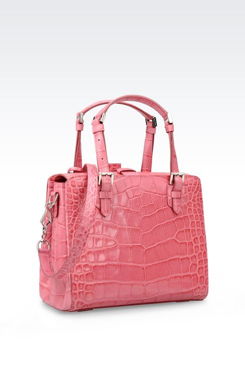 SMALL HANDBAG IN CROC PRINT CALFSKIN: Top handles Women by Armani - 2