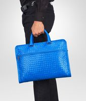 Signal Blue Intrecciato Light Calf Briefcase