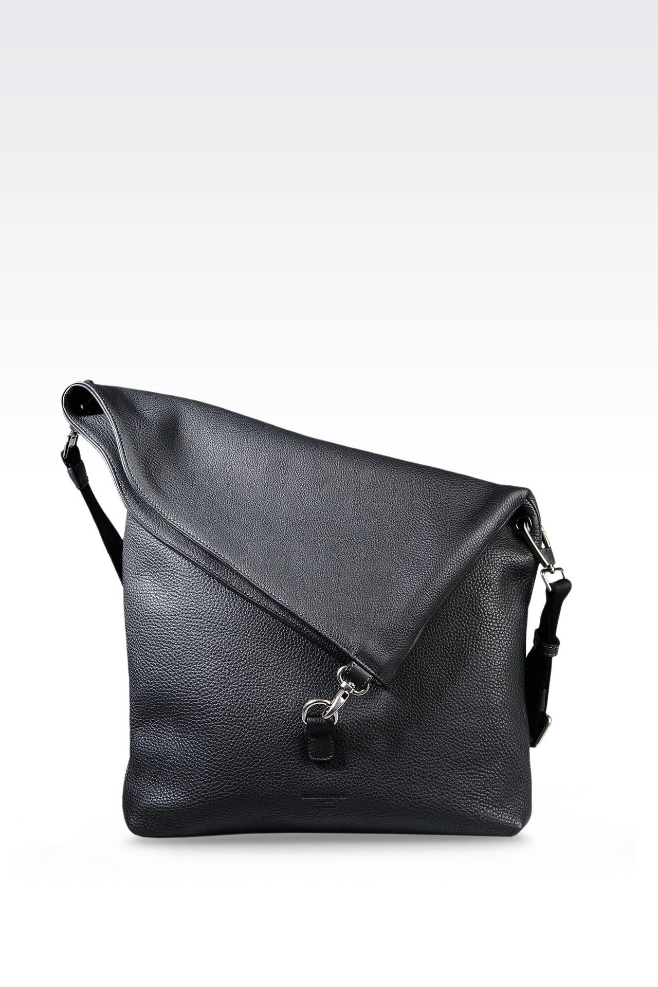 SHOULDER BAG IN PRINTED CALFSKIN: Messenger bags Men by Armani - 0