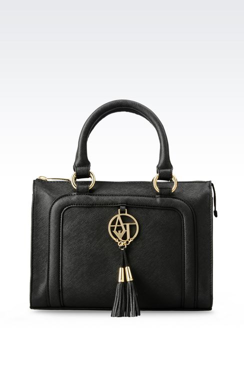 TOTE BAG IN FAUX SAFFIANO WITH TASSELS: Shoppers Women by Armani - 1