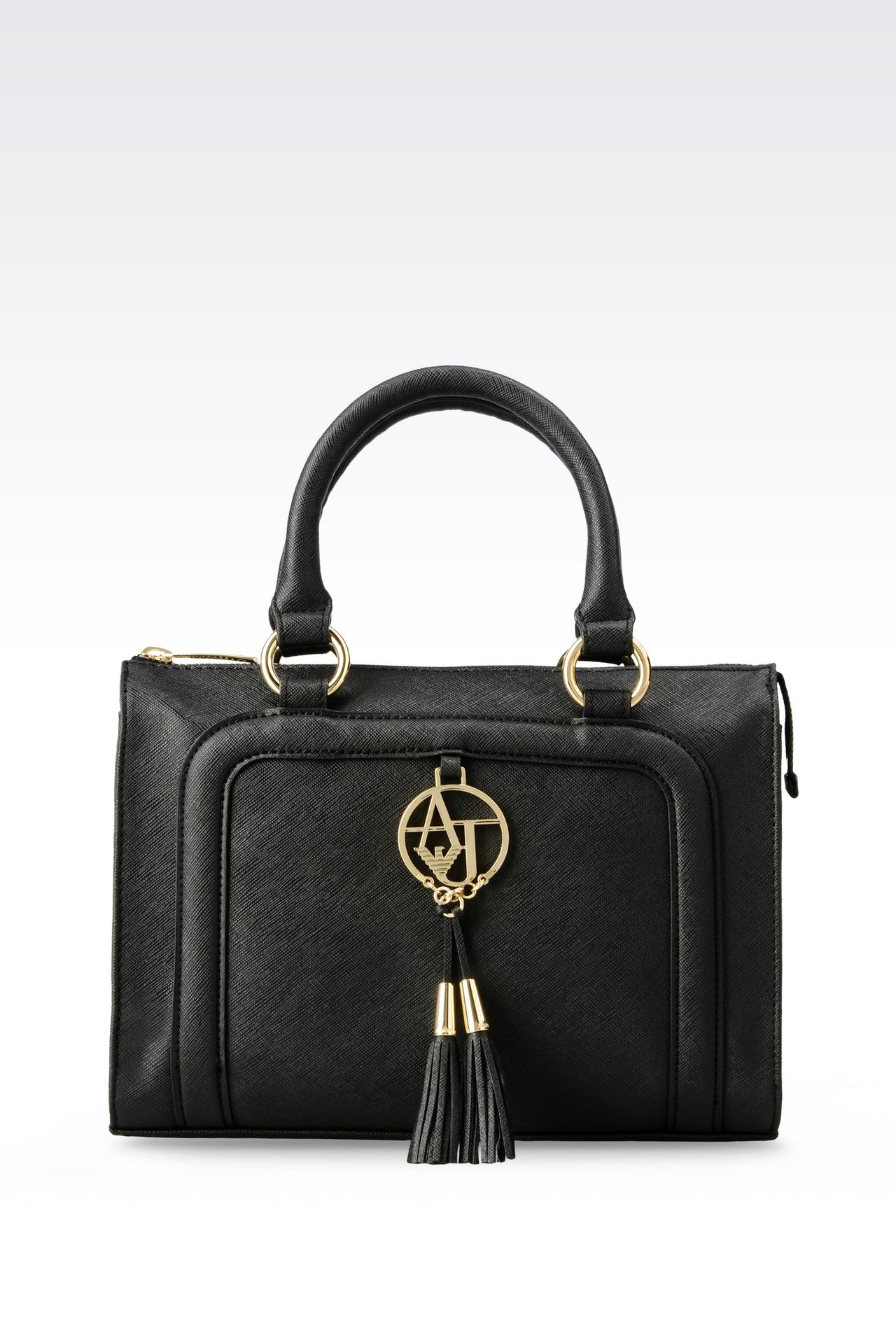 TOTE BAG IN FAUX SAFFIANO WITH TASSELS: Shoppers Women by Armani - 0