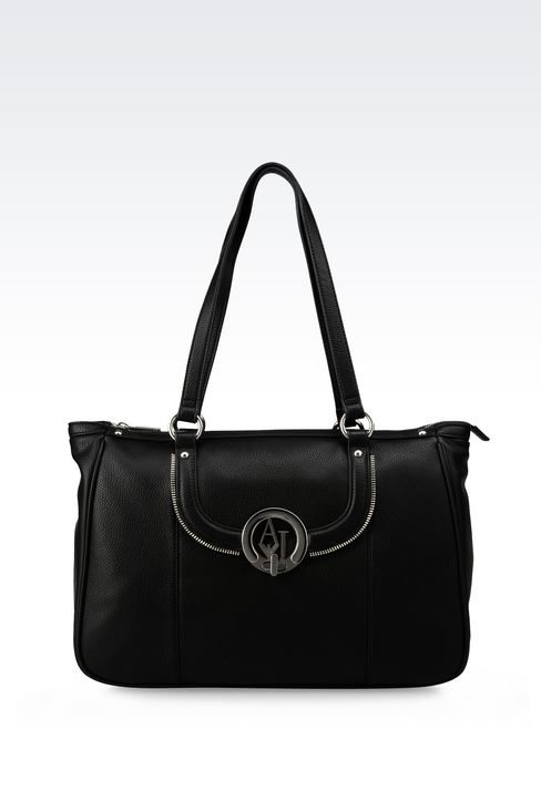 TOTE BAG IN TUMBLED FAUX LEATHER: Shoppers Women by Armani - 1