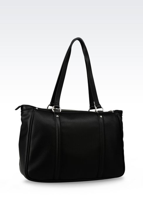 TOTE BAG IN TUMBLED FAUX LEATHER: Shoppers Women by Armani - 2