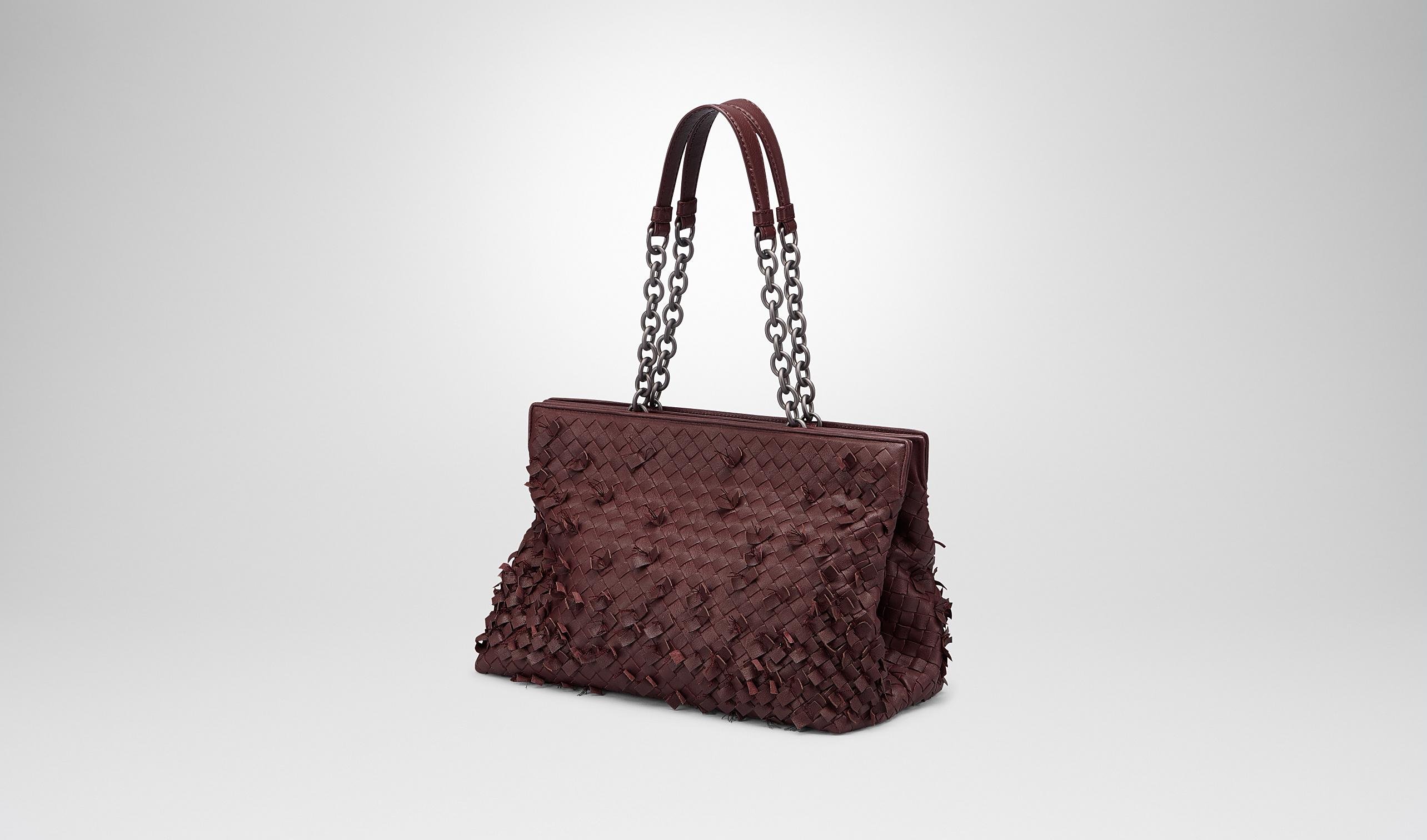 茄紫色编织手提包