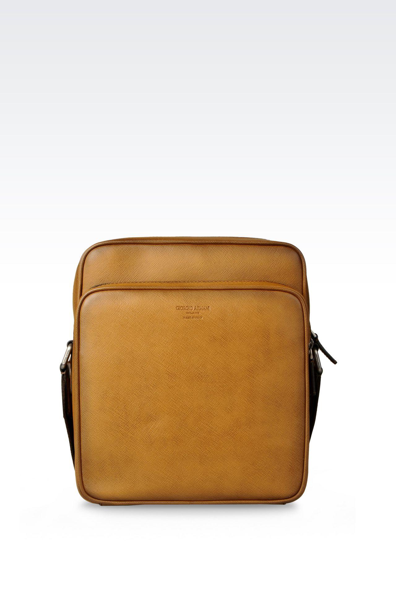 SHOULDER BAG IN BRUSHED SAFFIANO CALFSKIN: Messenger bags Men by Armani - 0