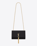 Classic Medium KATE Monogram Saint Laurent Tassel Satchel in Black Leather
