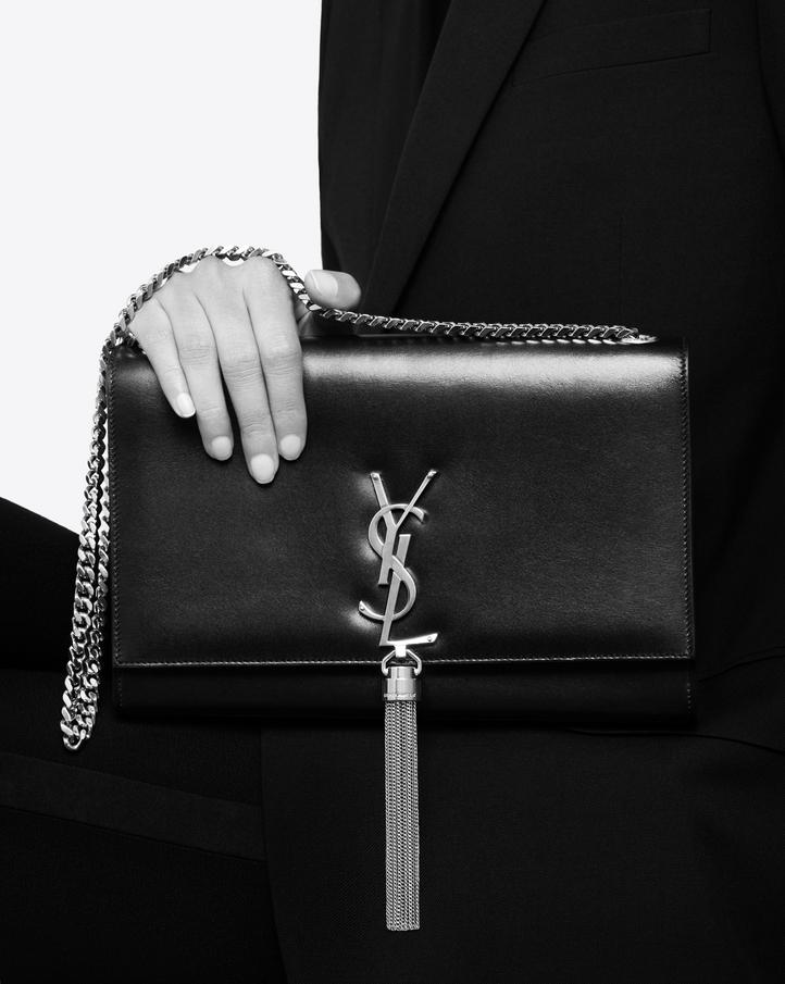 Classic Small Kate Monogram Saint Laurent Tassel Satchel In Black Leather