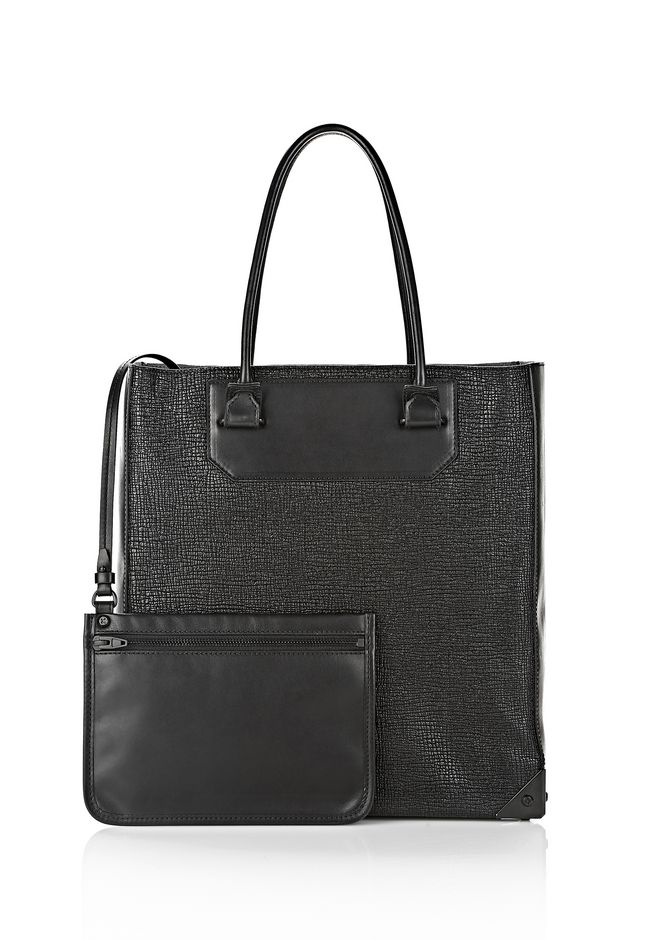 ALEXANDER WANG PRISMA TOTE  IN GRID EMBOSSED BLACK TOTE Adult 12_n_a