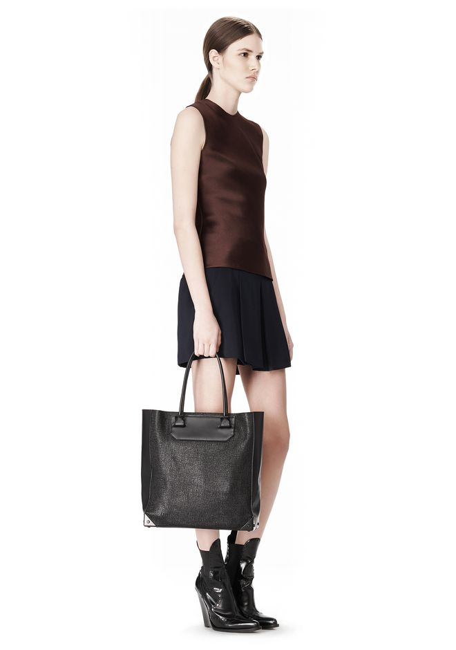 ALEXANDER WANG PRISMA TOTE  IN GRID EMBOSSED BLACK TOTE Adult 12_n_r