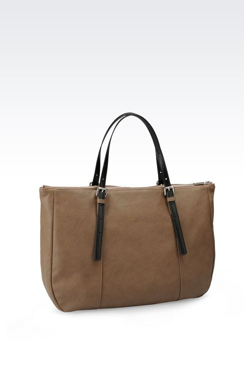 TOTE BAG IN FAUX LEATHER WITH LOGO: Shoppers Women by Armani - 2