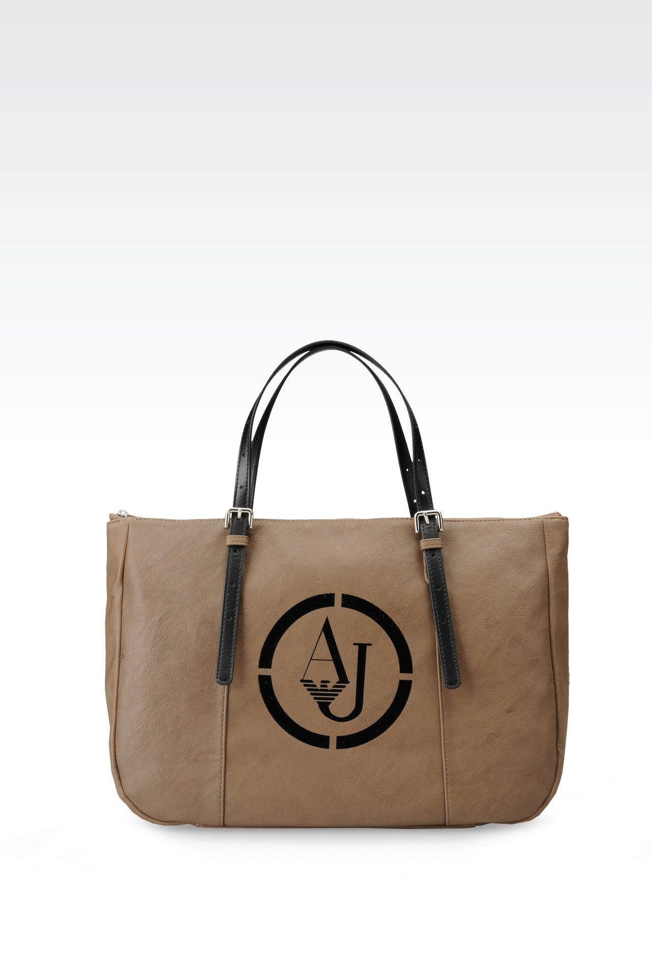 TOTE BAG IN FAUX LEATHER WITH LOGO: Shoppers Women by Armani - 0