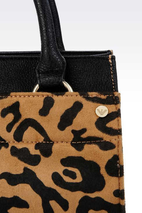 SHOPPING BAG IN TUMBLED FAUX LEATHER WITH ANIMAL DESIGN: Shoppers Women by Armani - 4