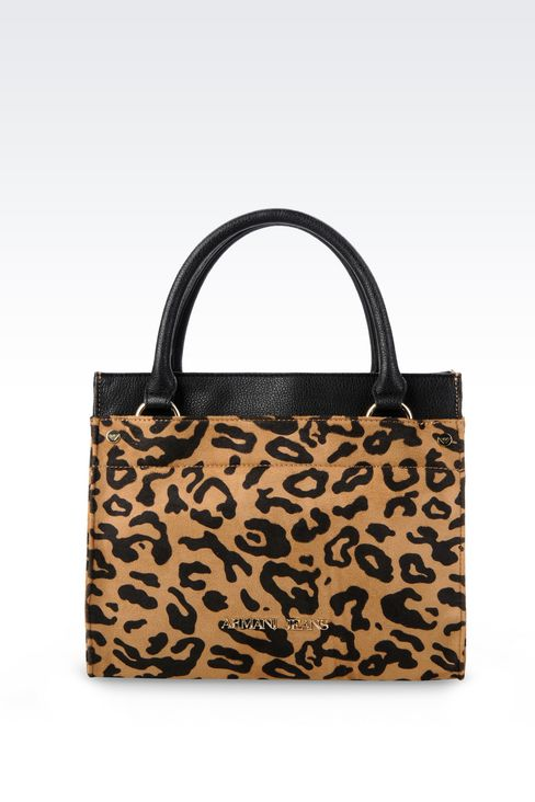 SHOPPING BAG IN TUMBLED FAUX LEATHER WITH ANIMAL DESIGN: Shoppers Women by Armani - 1