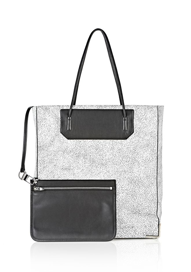 ALEXANDER WANG PRISMA SKELETAL TOTE IN MATTE CRACKED PEROXIDE WITH RHODIUM TOTE Adult 12_n_d